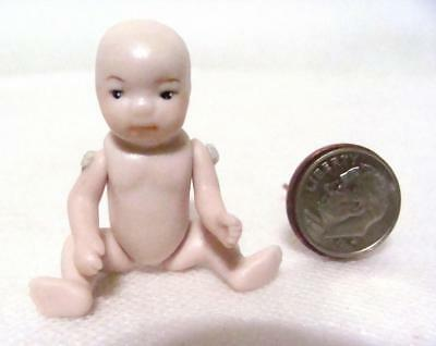 "Vintage Miniature Dollhouse 1:12 Porcelain Baby Toddler Child Doll 2"" Jointed"