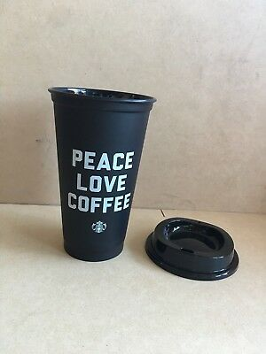 Starbucks Black Cup PEACE LOVE COFFEE 2018 16oz Reusable Coffee Cup W/Lid NEW!