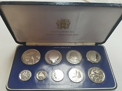 1980 JAMAICA 9 Coin Silver PROOF Set RARE (only 2688 sets minted)