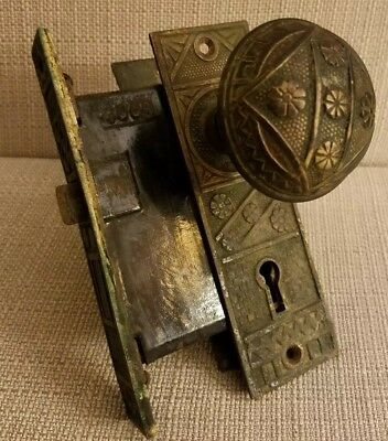 Antique Eastlake Brass Ornate Door Knobs, Back Plates, Mortise Lock