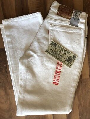 Women's 701 Student Fit Vintage White Levi's, Sixe 28x28, Made In USA!