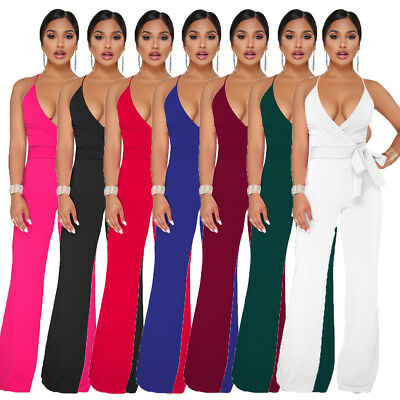 Women V-Neck Jumpsuit Romper Bodycon Clubwear Playsuit Bodysuit Long Trousers