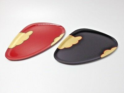 Japanese antique vintage Zohiko black red lacquer wood snack plate set chacha