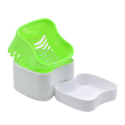 New 1pc Dental Europe Type Teeth Box Rinsing Basket Plastic Denture Case Green