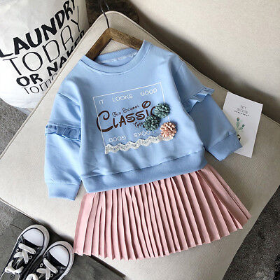 Fall Toddler Kid Baby Girl Letter Print Pleated Dress+Sweatshirt Outfit Clothes