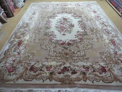8' X 10' Vintage  CHINESE Hand Made Wool Rug Aubusson Savonnerie Design Nice