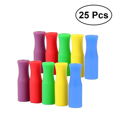 25pcs/set Silicone Tips Cover Food Grade Cover for Stainless Steel Straws