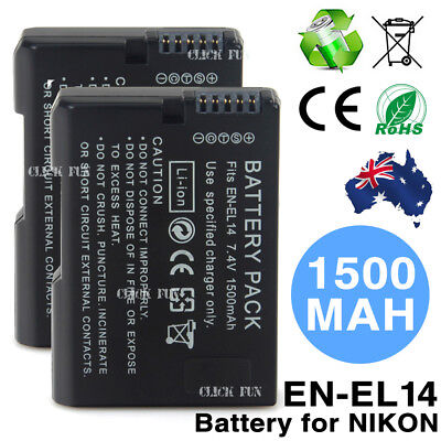 2x EN-EL14 1500mAh Backup Battery For Nikon Camera D3100 D3200 D5100 P7000