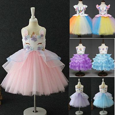 Flowers Kids Girls Unicorn Rainbow Pageant Party Formal Tutu Dress Clothes Sets