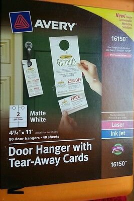 Avery Door Hanger with Tear-Away Cards, 4-1/4 x 11, Matte White, 80 - AVE16150