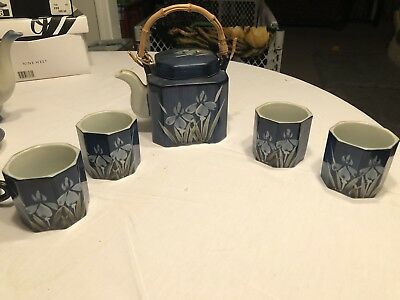 Antique Japanese 5 piece tea set, hand painted