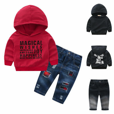 Infant Baby Kid Boy Girl Letter Print Hooded Tops PulloDenim Pant Outfit Set UK