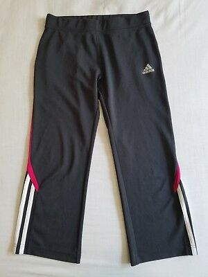 Junior Girl's ADIDAS Climalite Gray & Pink Stretchy Capri Athletic Leggings L