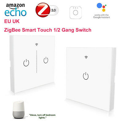 ZigBee Smart Home 1/2/3Gang Touch control Light Switch for Echo Plus Amazon Alex