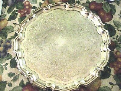 "Vintage Silver Plated CAVALIER England UK 14"" Round Tray Fluted Edges"