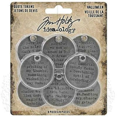Tim Holtz Idea-Ology ~ METAL QUOTE TOKENS ~ Halloween TH93733 ~ 8 in packet