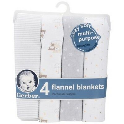 Gerber 4 Pack Gray & White Flannel Receiving Blankets-NEW-Stripes-Dots-Stars
