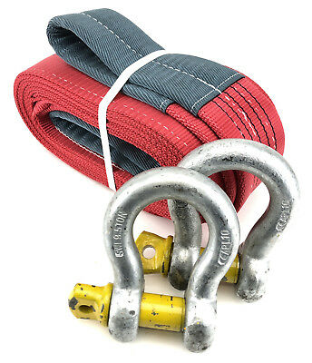 5 Tonne Tow Strap x 2 Metres With 9.5 Tonne Shackles, Recovery Strap, 5000kg