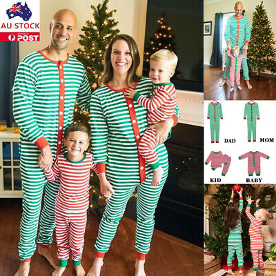 Christmas Stripe Family Matching Pajamas Jumpsuit Xmas Pyjamas Pjs Casual Romper