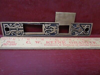 """LARGE 6 3/4"""" ANTIQUE HEAVY CAST BRASS MORTISE LOCK STRIKE PLATE L or R #8"""