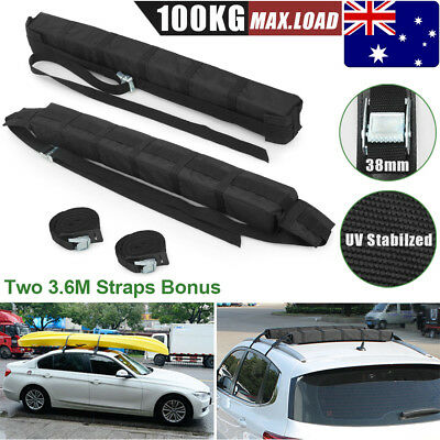 2pcs Auto Car Roof Rack Soft Pads Surf Kayak Surfboard Canoe Ski Luggage Carrier