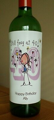 Personalised Ladies 40th Birthday Wine Bottle Label - Any Message