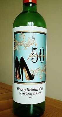 Personalised Ladies 50th Birthday Wine Bottle Label - Any Message