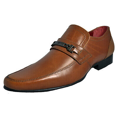Red Tape Luther Mens Smart Fomal Slip On Leather Dress Shoes Brown