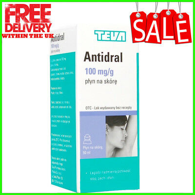 ANTIDRAL ANTIPERSPIRANT 50ml (100mg) FOR EXCESSIVE SWEATING ARMPITS HANDS FEET