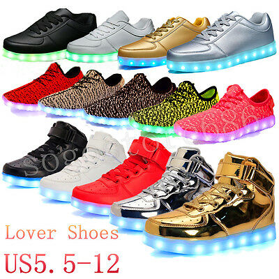 High Top LED USB Light Up Unisex Shoes Trainers Sneakers Flat Luminous Sneaker
