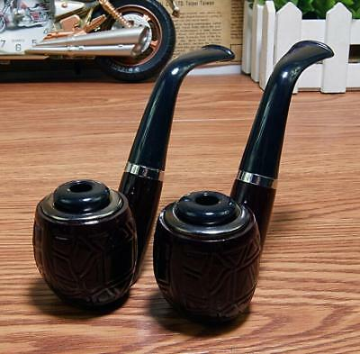 Vintage Durable Wood Curved Tobacco Cigar Pipes Cigarette Smoking Pipe Black
