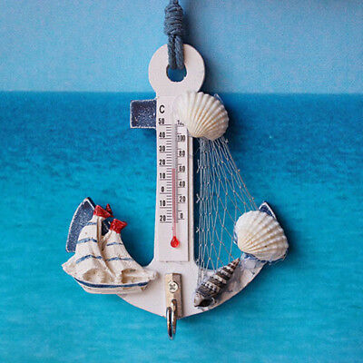 Ocean Style Wall Hanging Wood Anchor Thermometer New