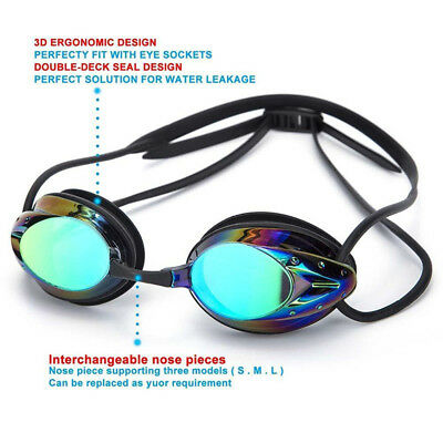 Plated Swimming Goggles Anti-fog UV Adjustable Professional 5 Color