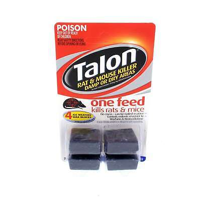 Talon Rodenticide Wax Block Kills With One Feed Dry or Damp Areas Selleys 72g
