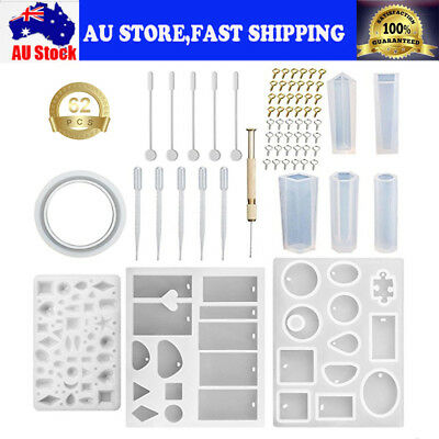 62pcs DIY Silicone Mold Making Jewelry Pendant Resin Casting Mould Craft Tool AU