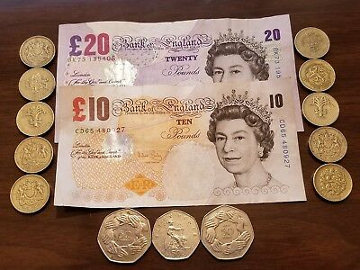 England, UK Currency Lot   40.5 GBP + 2 Commemorative 50 Pence 1973