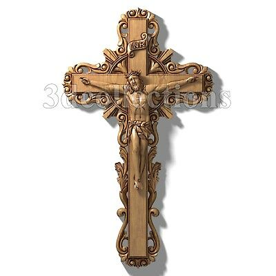 3d stl model cnc router artcam aspire catholic cross crucifiction jewelery