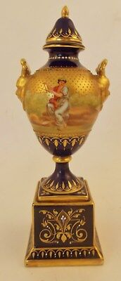 Wonderful Small Vienna Porcelain Covered Urn. Hand Painted Scene Signed A. Heer