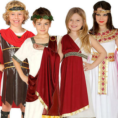Ancient Roman Kids Costumes Greek Toga Warrior Egyptian Boys Girls Costumes