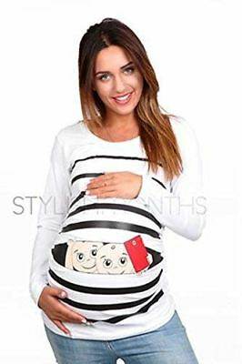 Funny Pregnancy Shirt - Maternity Clothes Tops - Cute Pregnancy Shirts Twins (Wh