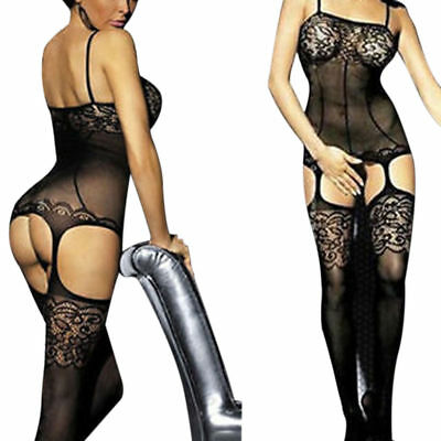 Womens Fishnet Bodystocking Crotchless Lingerie Nightwear Bodysuit