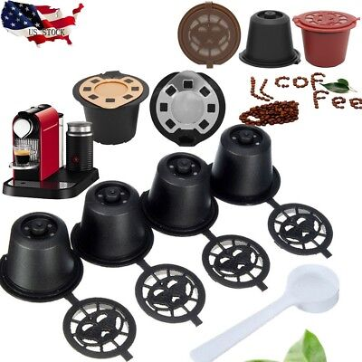 US STOCK 4xRefillable Reusable Coffee Capsules Pods For Nespresso Machines Spoon