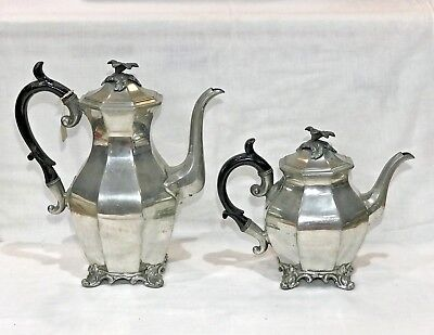 Lot of TWO Antique Pewter Coffee / Teapots, James Dixon & Son, England, c.1800s