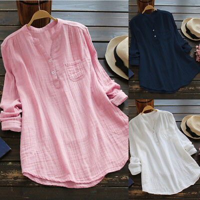 Plus Size Women Summer Gypsy Baggy Shirt Long Sleeve Tunic Top Blouse Size 6-26