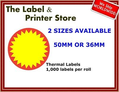 Red & Yellow Circle Flash Labels