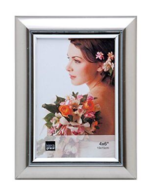 "Titanium Picture Frame W/ Silver Accent 4x6, 5x7, 8x10"" Desk Display Wall Mount"