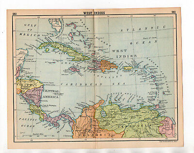 C1920 Antique Map Of West Indies John Bartholomew
