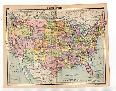 C1920 Antique Map Of United States USA John Bartholomew