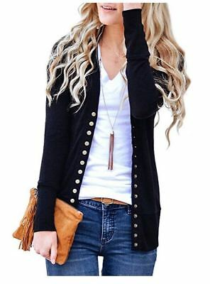 Womens Snap Button Sweater Cardigans V Neck Long Sleeve Ribbed Detail Knit