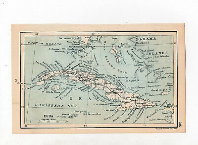 C1920 Antique Map Of Cuba John Bartholomew